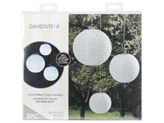 Lace Look Paper Lanterns 3/Pkg-White 6