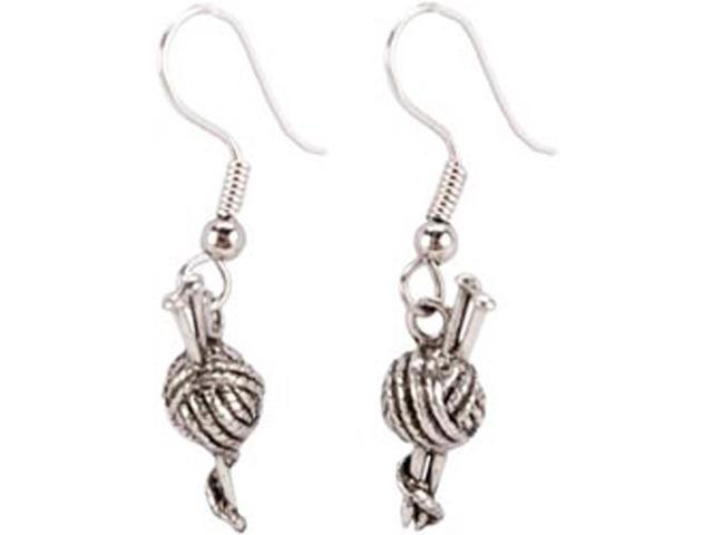 Charming Accents French Wire Earrings-Knitting Needles