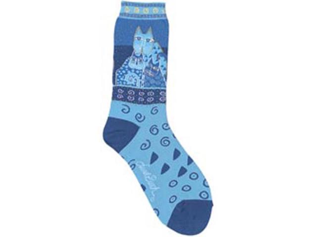 Laurel Burch Socks-Blue Felines