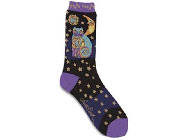 Laurel Burch Socks-Celestial Cat-Black