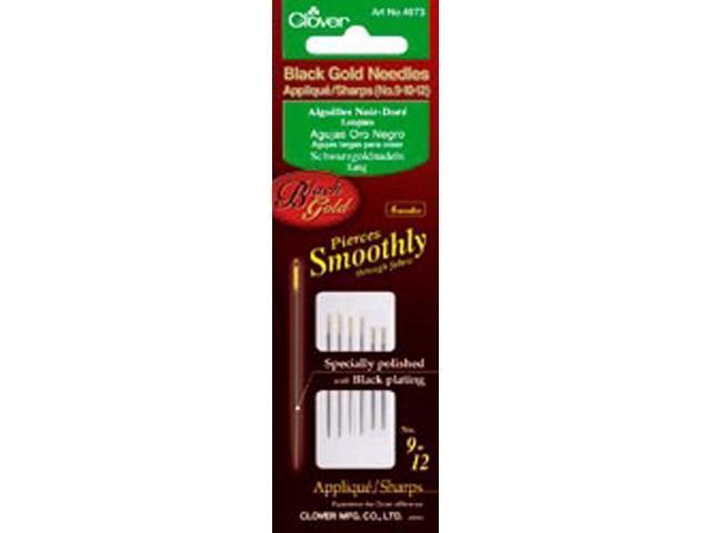 Black Gold Applique/Sharps Needles-Size 9/10/12 2 Each