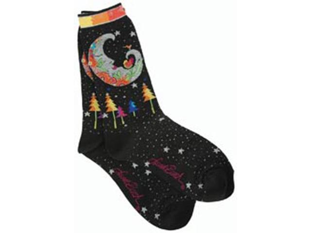 Laurel Burch Socks-Mystic Moon -Black