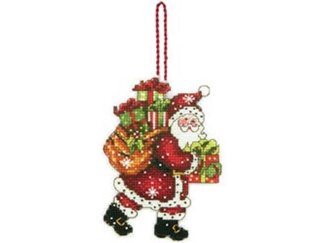 Susan Winget Santa W/Bag Ornament Counted Cross Stitch Kit-3-1/2