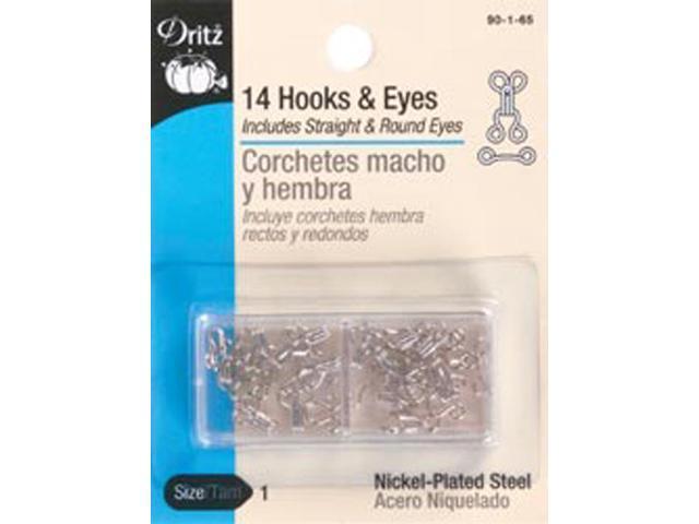 Hooks & Eyes Size 1 14/Pkg-Nickel