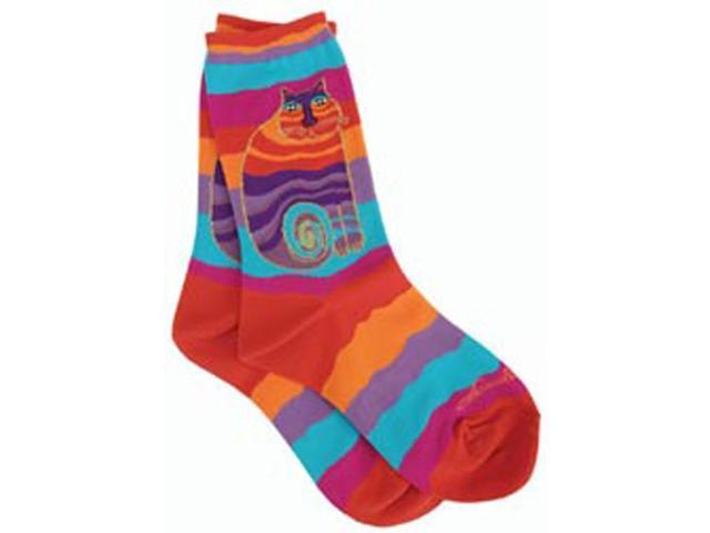 Laurel Burch Socks-Rainbow Cat -Multi Wavy Stripe