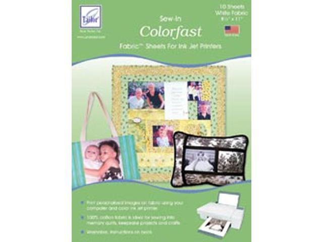 Colorfast Sew-In Inkjet Fabric Sheets-White 8-1/2