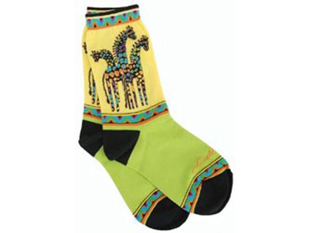 Laurel Burch Socks-Giraffes -Yellow/Green