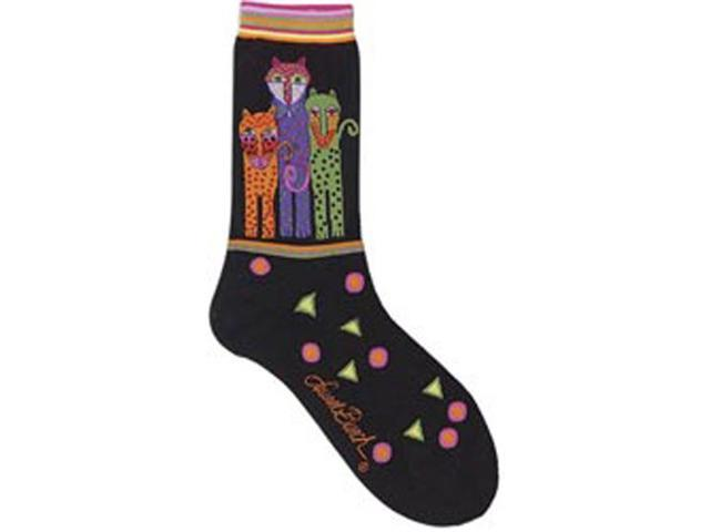 Laurel Burch Socks-Polka Dot Leopard-Black