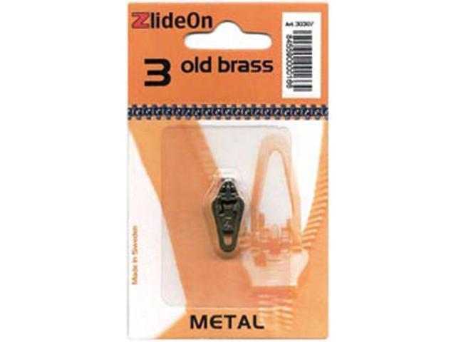 ZlideOn Zipper Pull Replacements Metal 3-Old Brass