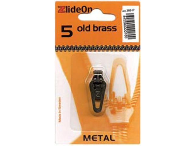 ZlideOn Zipper Pull Replacements Metal 5-Old Brass
