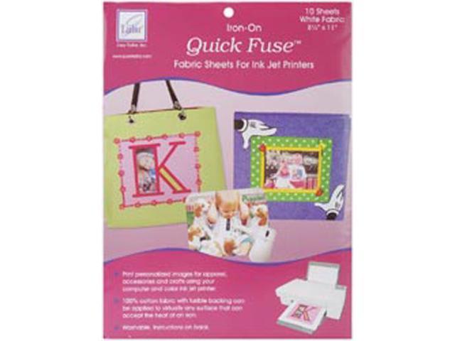 Quick Fuse Iron-On Inkjet Fabric Sheets-White 8-1/2
