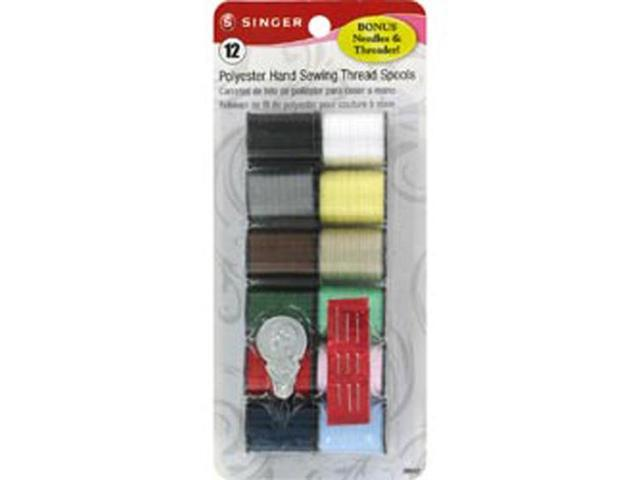 Singer 12 Count Assorted Colors 100 percent Spun Polyester Thread  60642 - Pack of 3