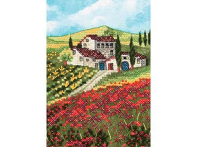 Poppy Fields Mini Stamped Cross Stitch Kit-5