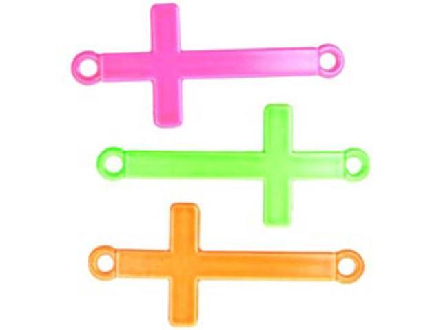 Loom Band Charms 3/Pkg-Cross Assorted Neon