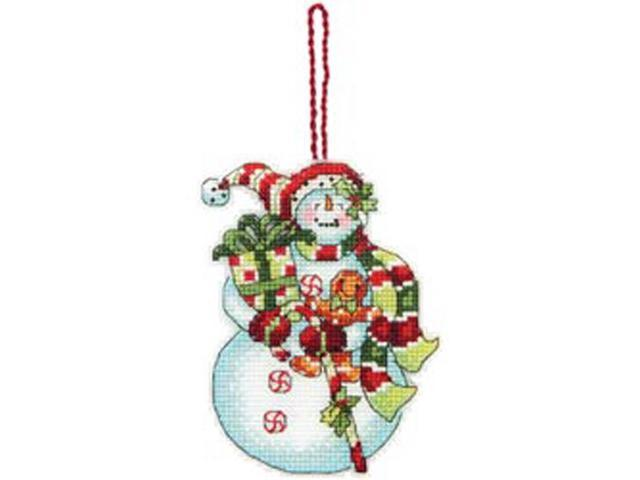Susan Winget Snowman W/Sweets Ornament Counted Cross Stitch -3-1/4