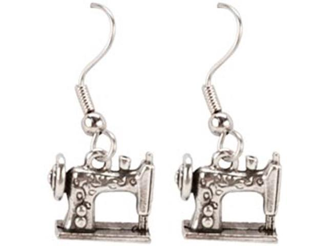 Charming Accents French Wire Earrings-Sewing Machine