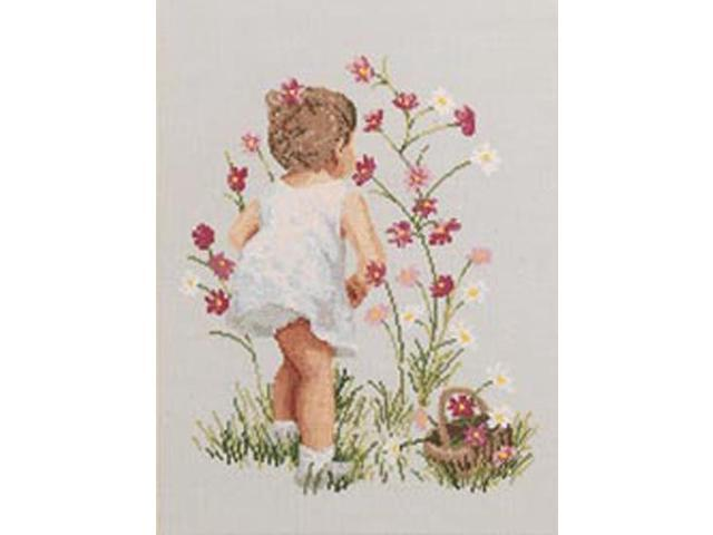Girl With Cosmos Counted Cross Stitch Kit-12