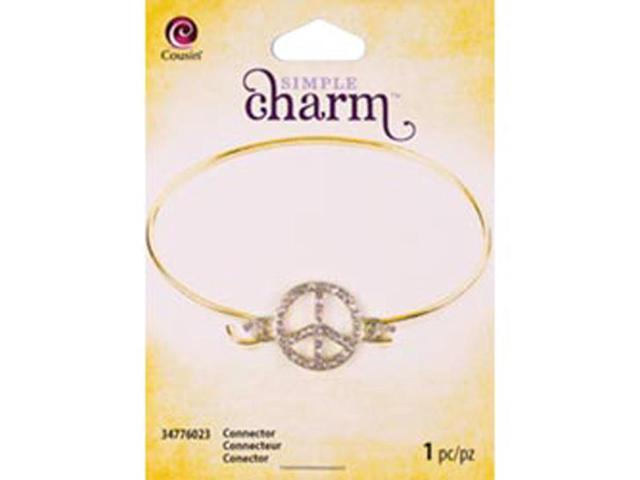 Simple Charm Connector 1/Pkg-Gold Rhinestone Peace