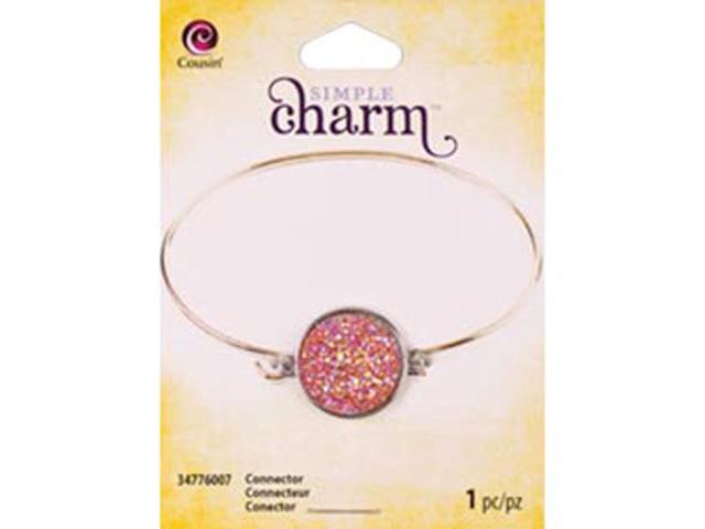 Simple Charm Connector 1/Pkg-Red Acrylic Druzy Round