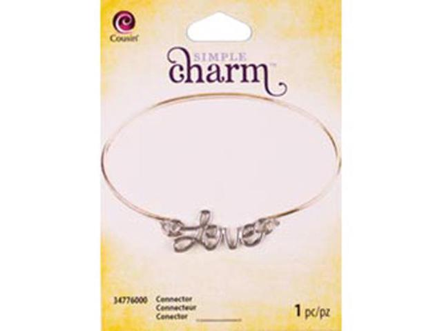 Simple Charm Connector 1/Pkg-Silver Script Love