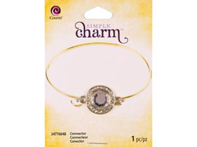 Simple Charm Connector 1/Pkg-Gold Round W/Rhinestones