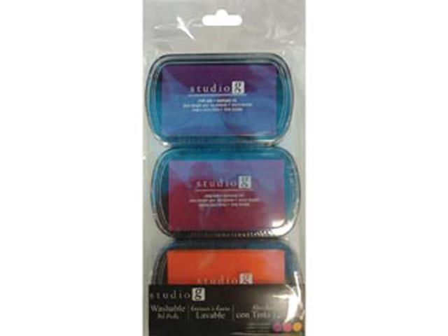 Washable Ink Pads 3pk-Brights