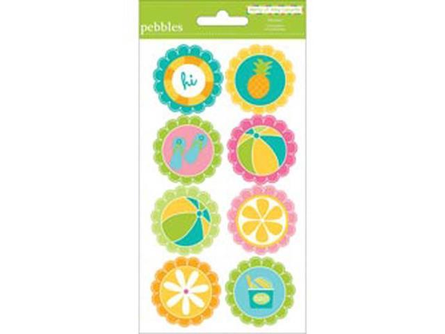 Party Pool Round Stickers 3.75