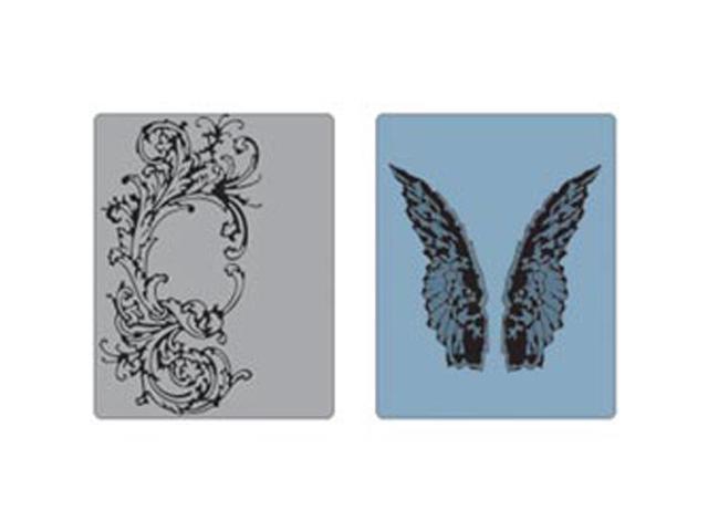 Sizzix Texture Fades Embossing Folders By Tim Holtz 2/Pkg-Flourish & Wings
