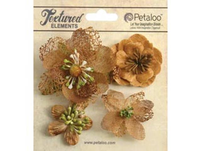 Mixed Textured Blossoms 4/Pkg-Mocha