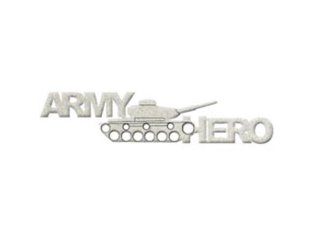 Die-Cut Grey Chipboard Word-Army Hero 8.5