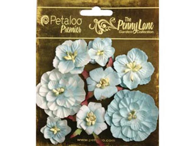 Penny Lane Mixed Blossoms 8/Pkg-Robin's Egg Blue