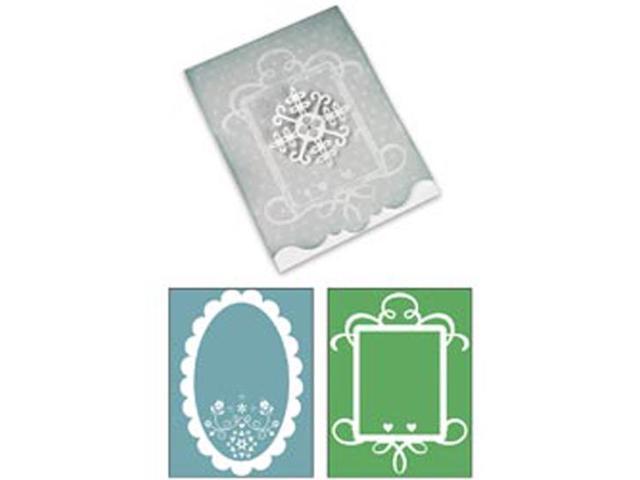Sizzix Bigz XL/Bonus Textured Impressions By Basic Grey-Nordic Holiday Ornate Card #3; Frames