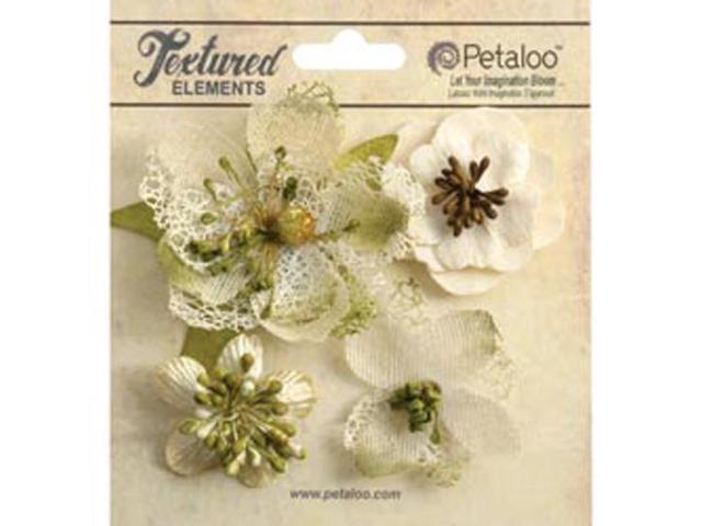 Mixed Textured Blossoms 4/Pkg-Ivory
