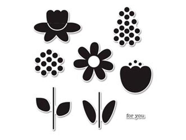 Sizzix Framelits Dies 8/Pkg With Clear Stamps By Doodlebug-Bloom