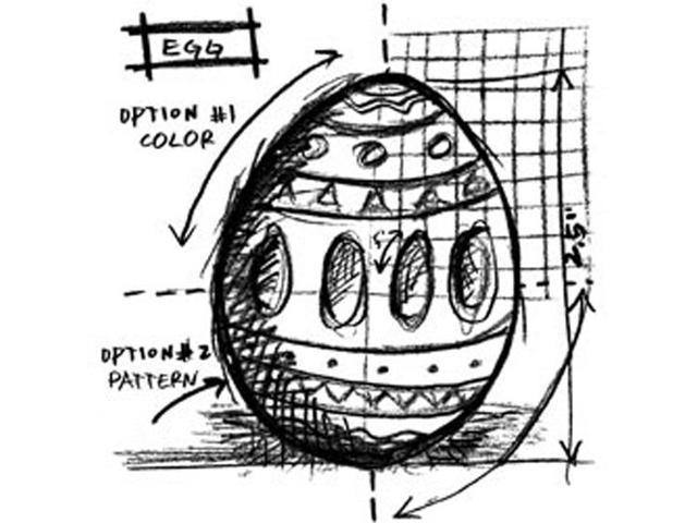 Tim Holtz Red Rubber Stamp-Egg Sketch
