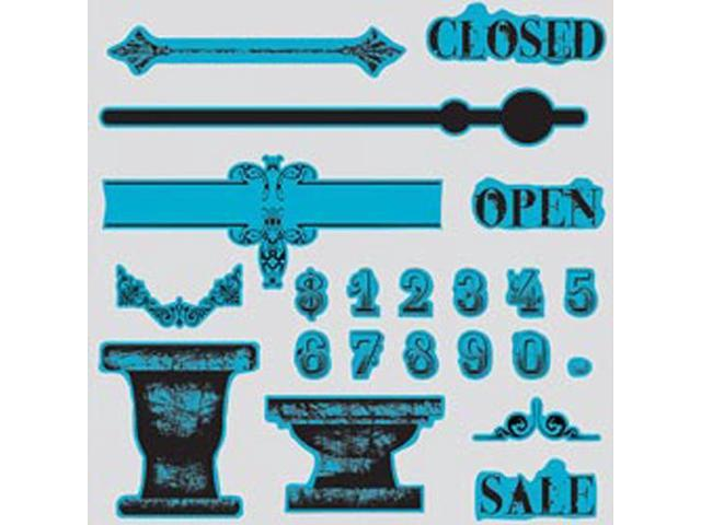 Sizzix Framelits Dies 6/Pkg With Cling Stamps By 7 Gypsies-Sign Of The Times