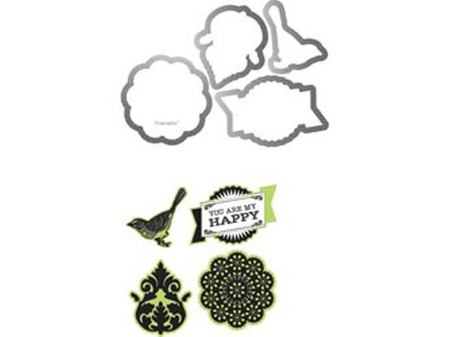 Sizzix Framelits Dies 4/Pkg With Clear Stamps By Echo Park-For The Record 2; Documented