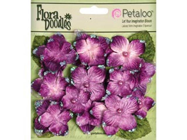 Flora Doodles Velvet Hydrangeas 22/Pkg-Plum