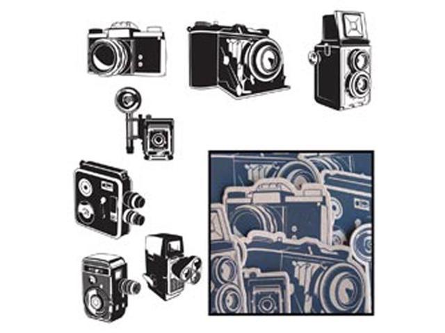 Kraft Die-Cuts 14/Pkg-Say Cheese Cameras 7 Styles/Black