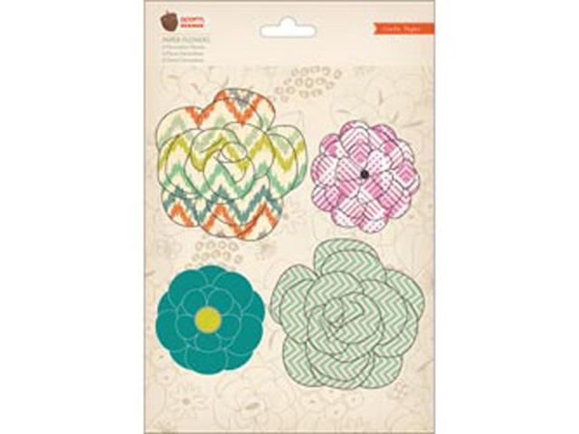 Acorn Avenue Paper Flowers 4/Pkg-