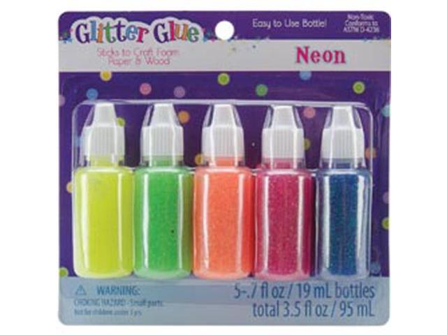 Glitter Glue .7 Ounces 5/Pkg-Neon