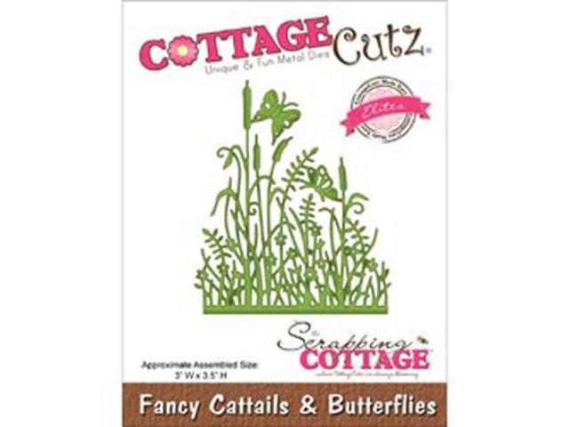 CottageCutz Elites Die-Fancy Cattails & Butterflies