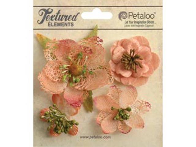 Mixed Textured Blossoms 4/Pkg-Apricot