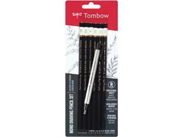MONO Drawing Pencil 6/Pkg & Eraser Set-Black