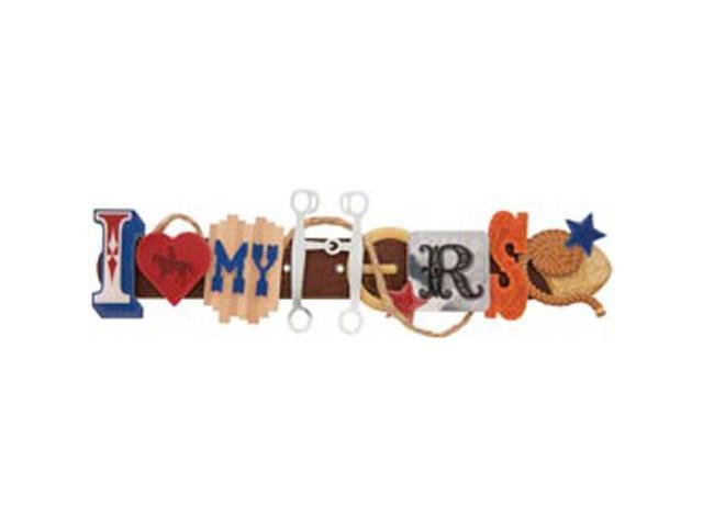 Cowboy Stacked Statement 3-D Title Sticker-I Love My Horse