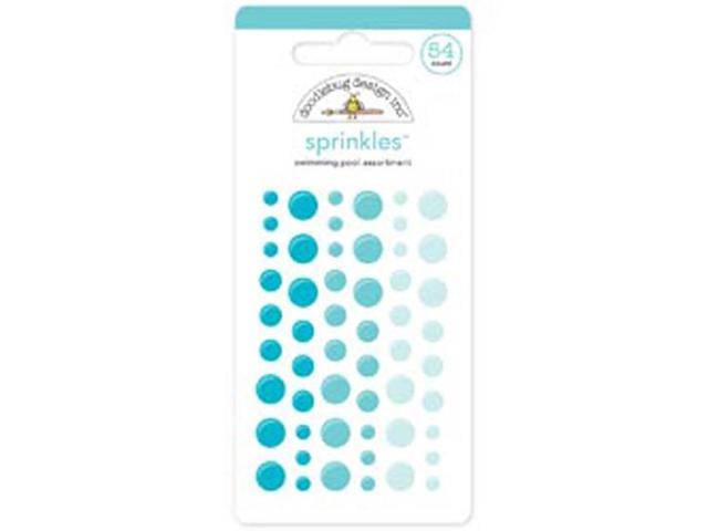 Monochromatic Sprinkles Glossy Enamel Sticker Dots 54/Pkg-Swimming Pool