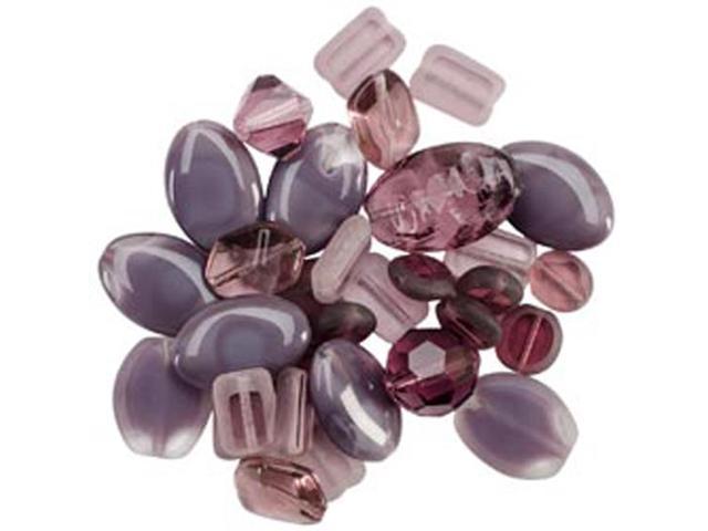 Square Tube Glass Bead Mix 2Oz/Pkg-Sweep Purple Mix