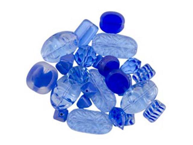 Square Tube Glass Bead Mix 2Oz/Pkg-Sweep Ocean Blue Mix