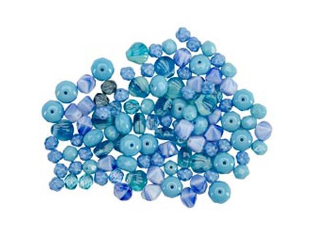 Square Tube Glass Bead Mix 2Oz/Pkg-Pressed Glass Ocean Mix