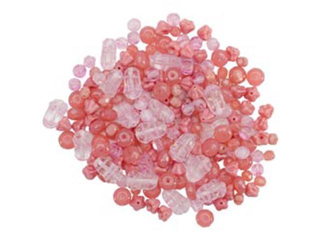 Square Tube Glass Bead Mix 2Oz/Pkg-Pressed Pink Mix